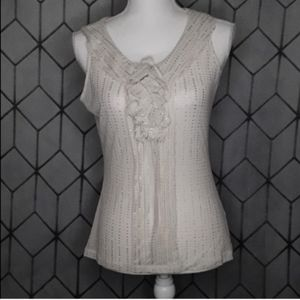 THE LIMITED Cream And Silver Sheer Tank